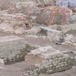 Пушкин, Соборная площадь, раскопки, фундаменты Екатерининского собора, святой Екатерины