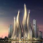 Проект небоскребов в городе Дубаи, горящие свечи