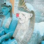 Сфинксы с Каменного острова, Малой Невки, на реставрации