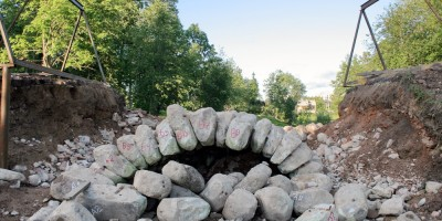 Андрианово, ремонт пруда в усадьбе Марьино, мост