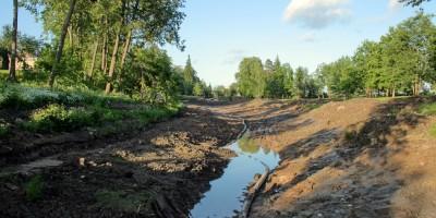Андрианово, ремонт пруда в усадьбе Марьино, вода