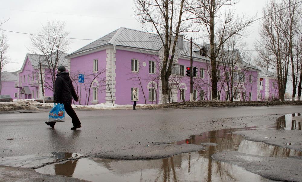 Никольское, сиреневые дома на углу Зеленой и Советского