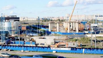 Вид на развязку с Приморского проспекта в сторону Мебельной улицы