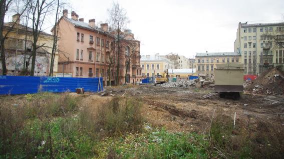 8-я линия Васильевского острова, 61, снесенное Благовещенское синодальное подворье, участок под строительство административного здания