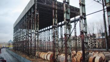 Конструкция у Варшавского вокзала на набережной Обводного канала, испытательный цех подъемно-транспортного оборудования