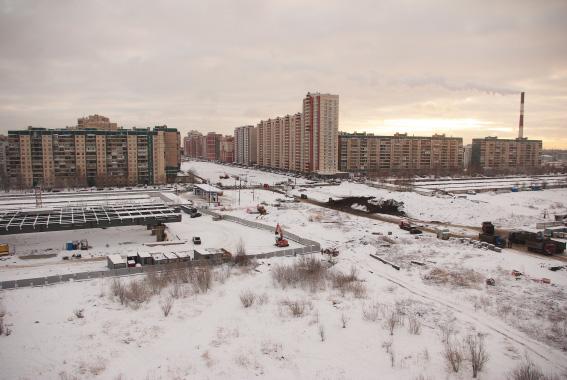 Строительство Богатырского проспекта, развязка с Западным скоростным диаметром