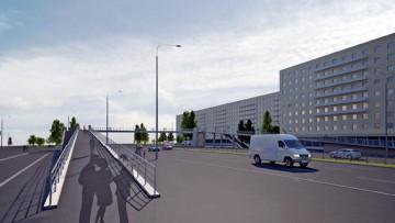 Надземный пешеходный переход на перекрестке проспекта Славы и Белградской улицы, проект