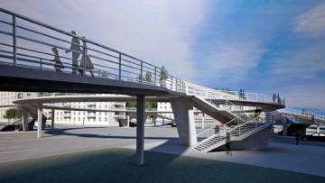 Надземный пешеходный переход на перекрестке проспекта Славы и Будапештской улицы, проект