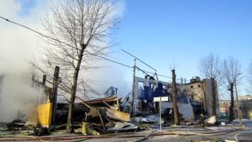 Пожар в гипермаркете К-раута на улице Маршала Говорова