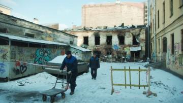 Сгоревший флигель дома Пикеевых на Моховой, 39