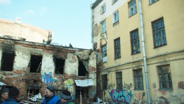 Сгоревший флигель дома Пикеевых, Моховая улица, 39
