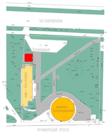 План расположения колокольни Благовещенской церкви в Старой Деревне