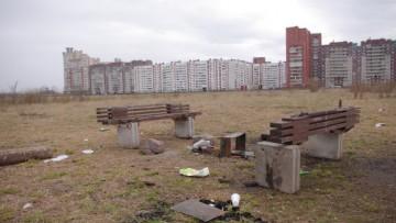 Поле между Лахтинской гаванью и парком 300-летия Петербурга