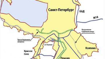 Схема расположения города-спутника Южный под Пушкином