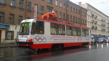 Сегодня по Петербургу начнет курсировать «Олимпийский трамвай»