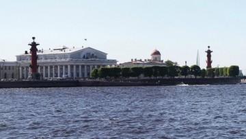 Стрелка Васильевского острова, вид на Лахта-центр