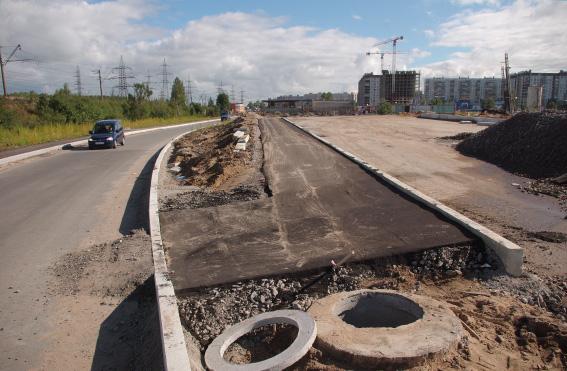 Процесс строительства Суздальского шоссе в створе Суздальского проспекта