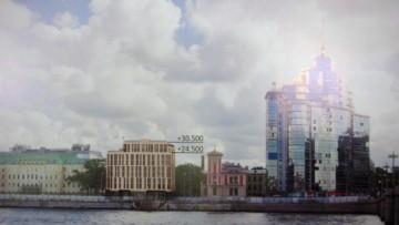 Проект гостиницы на Пироговской набережной №1, общий вид Петроградской набережной