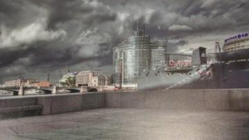 Проект гостиницы на Пироговской набережной, вид от Крейсера «Аврора»