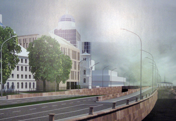 Проект гостиницы, вид с Пироговской набережной