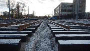 Трамвайные пути на Жукова, укладка