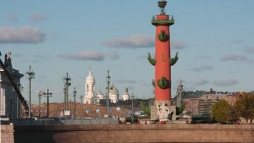 Стрелка Васильевского острова, вид на стройку «Набережной Европы»