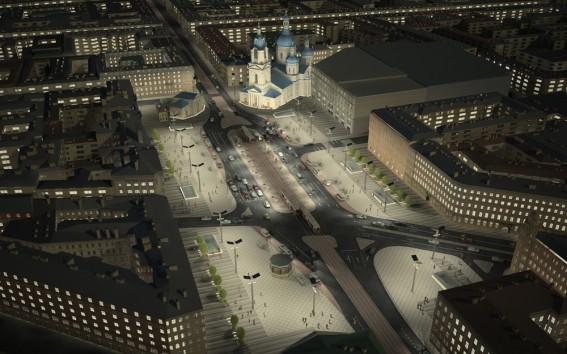 Проект реконструкции Сенной площади, вид ночью