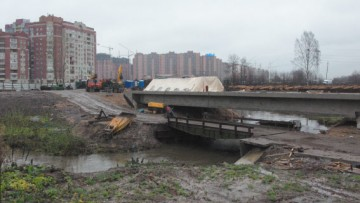 Новый мост на реке Оккервиль рядом с мостом Дыбенко