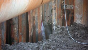 Течь на строящемся тоннеле на Пироговской набережной