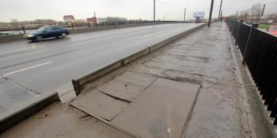 Тротуары путепровода на Октябрьской