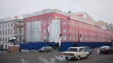 Демонтаж лесов «Литературного дома» на Невском