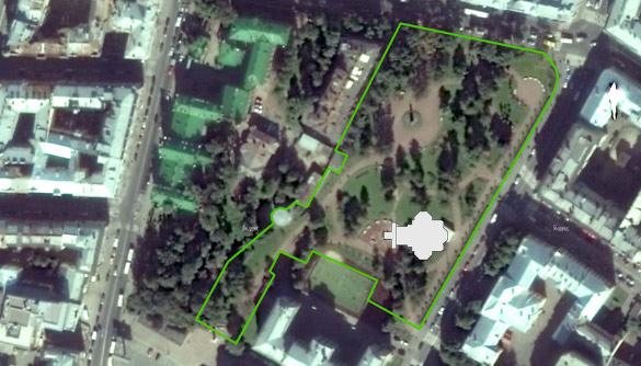 План размещения церкви в Некрасовском саду