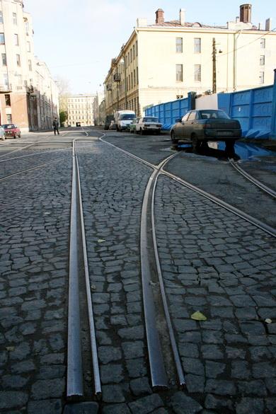Дегтярный переулок, трамвайные пути