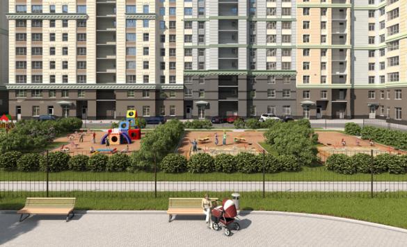 """Проект жилого комплекса """"Времена года"""". Вид со стороны двора."""