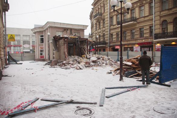 Финский переулок, снос торгового павильона