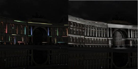 Проект Надежды Истоминой, подсветка Главного штаба