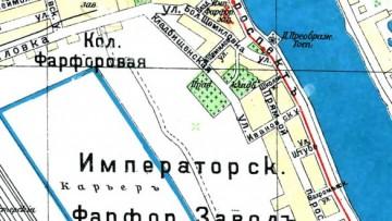 Фарфоровское кладбище на карте 1916 года