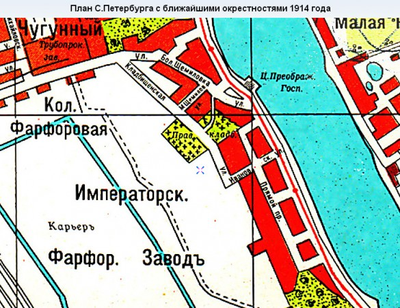 Фарфоровское кладбище на карте 1914 года