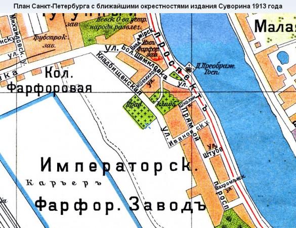 Фарфоровское кладбище на карте 1913 года