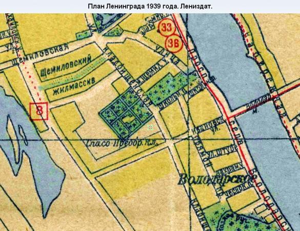 Фарфоровское кладбище на карте 1939 года