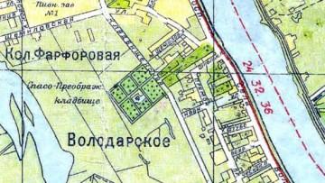 Фарфоровское кладбище на карте 1933 года