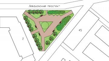 План сквера на перекрестке Левашовского и Чкаловского проспектов