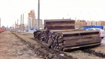 Шпалы на Бухарестской улице