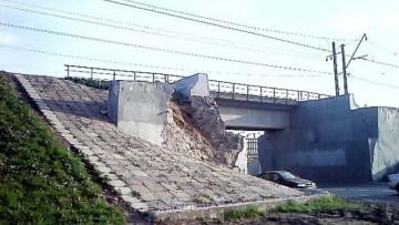 Обрушение путепровода, железнодорожного моста на Пулковском шоссе