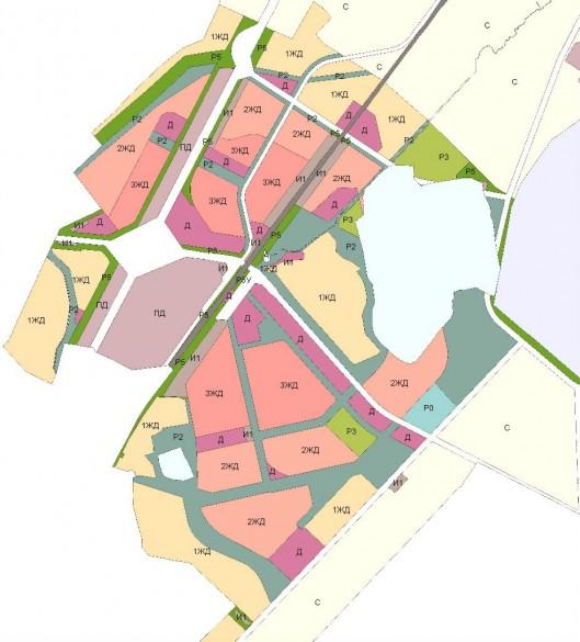 Планировка города-спутника Южный с учетом болота