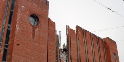 Подстанция 190 Выборгская на Лесном проспекте, 24, после взрыва, фасад