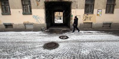 Мощение улицы Репина, диабаз