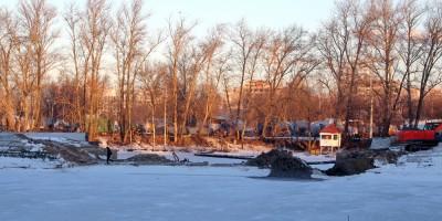 Строительства моста на Гребном канале