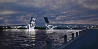 Мост в створе Большого Смоленского и Коллонтай, разводка