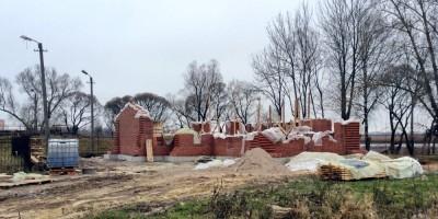 Строительство церкви, общий план (Колпино)